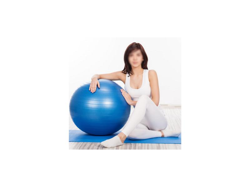 Ballon de gym yoga bleu - taille 65 cm - fitness
