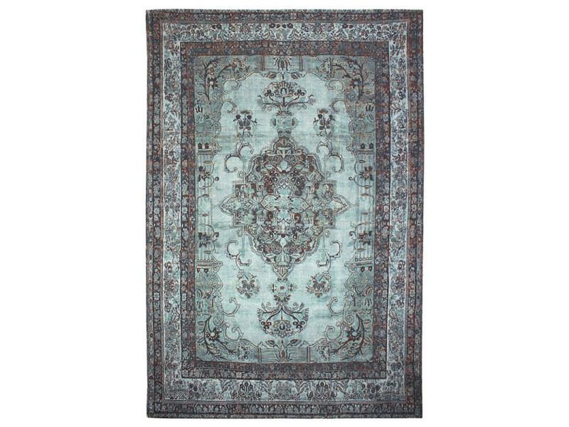 Orient vintage - tapis à motifs orientaux effet vintage bleu 145x200