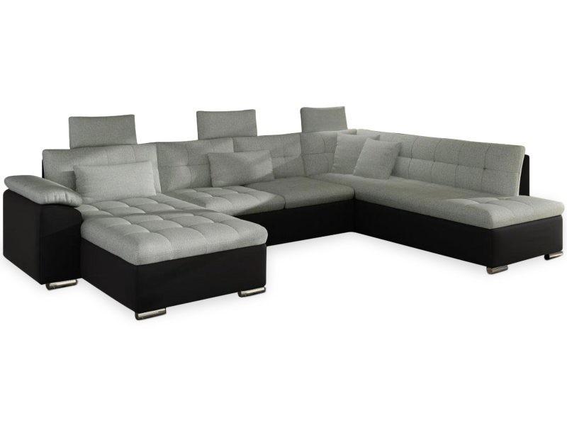 Canapé d'angle en u convertible prestoli simili noir et tissu gris