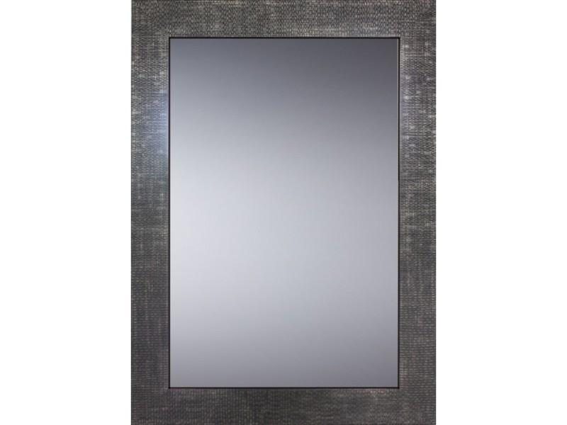 Miroir décoratif glamour - cadre gris métal - 70 cm x 50 cm (hxl)