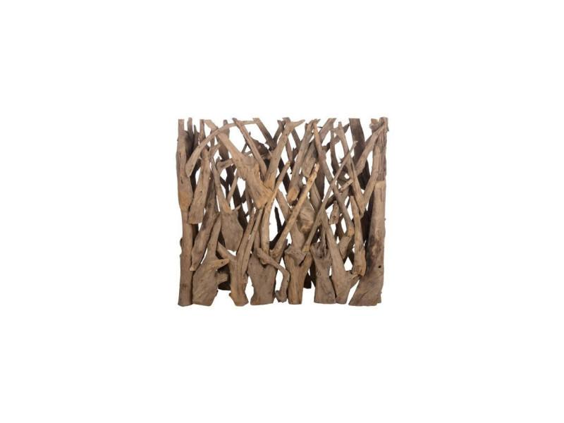 Brise vue en teck véritable- 118 x 28 x 110 cm - marron naturel DIJ34051017