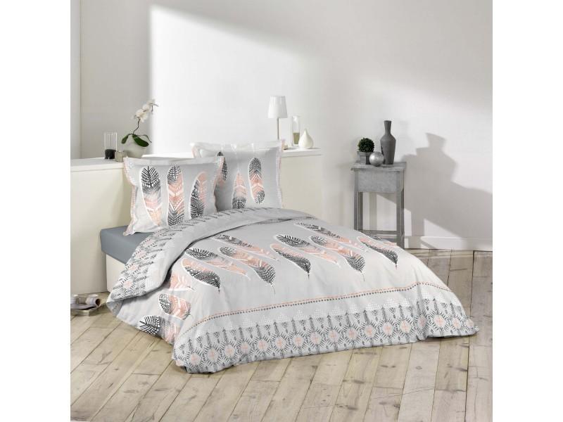 parure housse de couette 260 x 240 cm modele plumes ethnique conforama. Black Bedroom Furniture Sets. Home Design Ideas