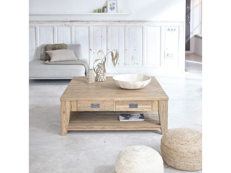 Table basse carrée en bois de teck recyclé double plateau 120