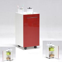 Desserte de salle de bain sur roulettes / rouge