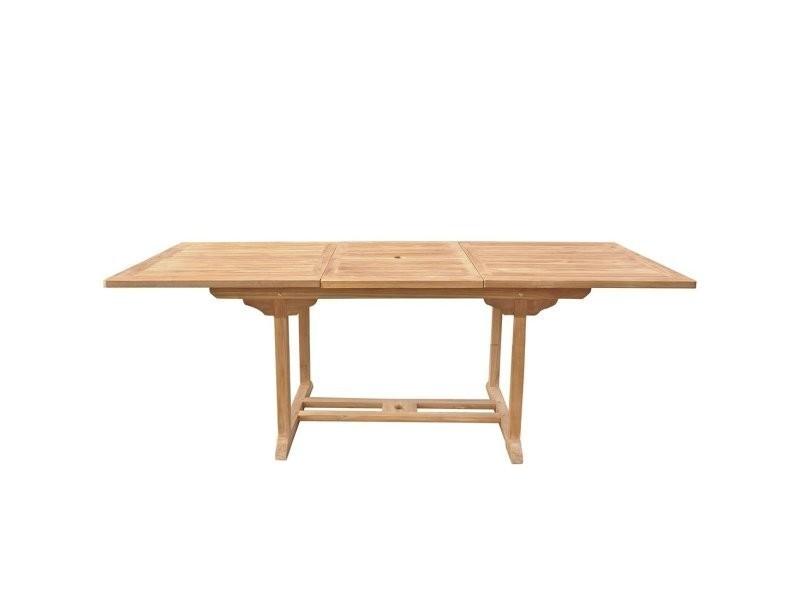 Table de jardin en bois rectangulaire avec rallonges java 2550