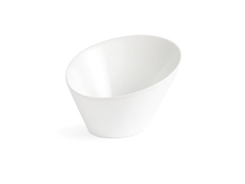 Bols ovales inclinés blancs olympia - boite de 3 - 0 cm porcelaine 0 cl