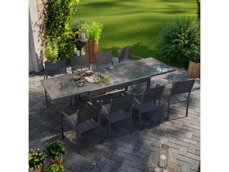 Table de jardin extensible aluminium 270cm + 8 fauteuils empilables textilène anthracite - lio 8