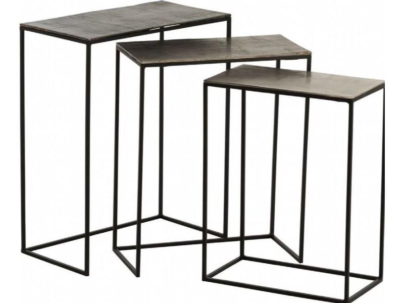 3x tables gigognes rectangulaires aluminium boolambayte 86231