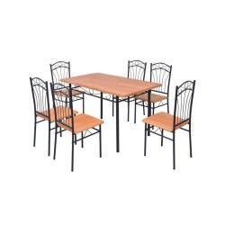 Vidaxl ensemble à dîner sept pièces marron