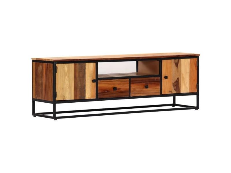 Chic meubles collection berlin meuble tv 120 x 30 x 40 cm bois de récupération massif et acier
