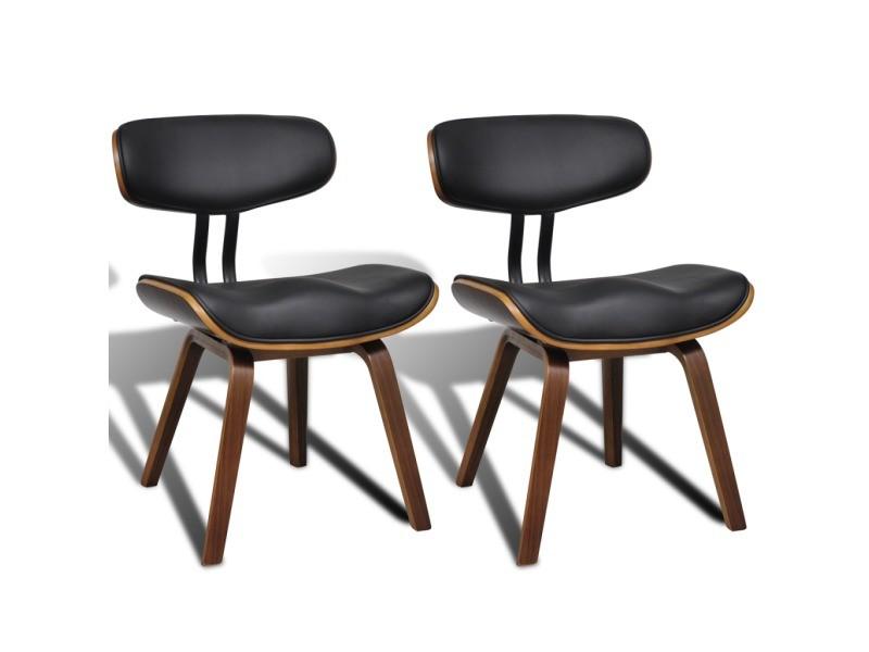 2 chaises de cuisine salon salle à manger design noir bois helloshop26 1902046