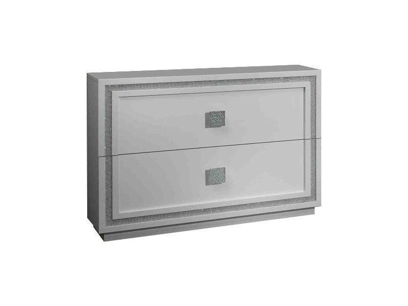 Commode blanche à 2 grands tiroirs avec décor strass p-6476-co ...