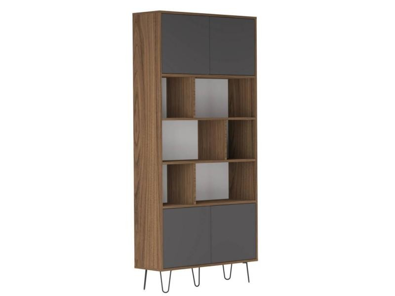 biblioth que design scandinave lackberg 4 portes noyer 20100866666 vente de etag re conforama. Black Bedroom Furniture Sets. Home Design Ideas