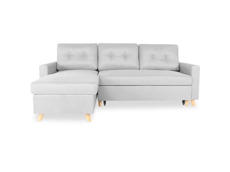 Canapé d'angle convertible réversible falko tissu gris