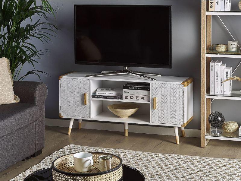 Meuble tv blanc / bois clair banes 244618