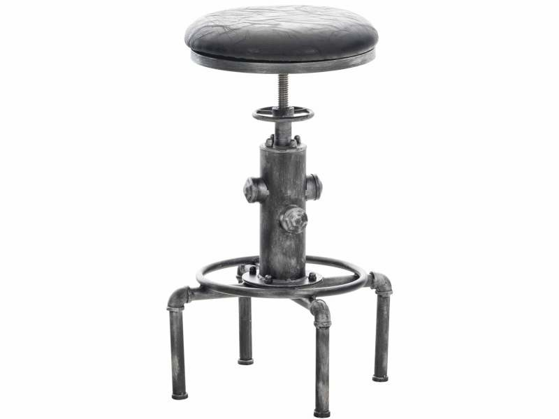 Tabouret de bar vintage style industriel hauteur réglable similicuir noir et métal argenté tdb10155