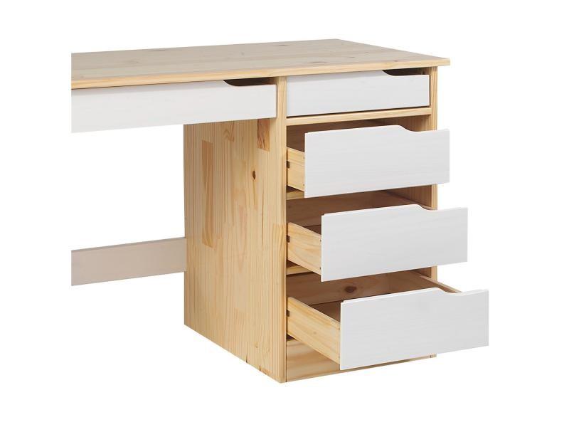 Bureau hugo avec rangement 5 tiroirs style scandinave en pin massif