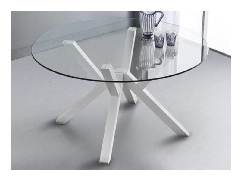 Table repas design teorema blanche avec plateau en verre 20100850626
