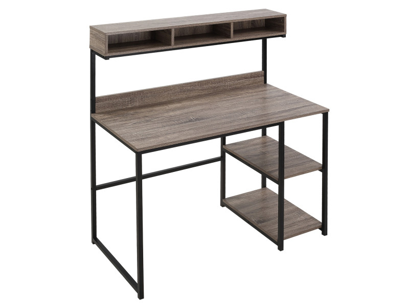 Bureau informatique style industriel - dim. 107l x 51l x 125h cm - 3 niches, 2 étagères - châssis métal noir plateau aspect bois gris