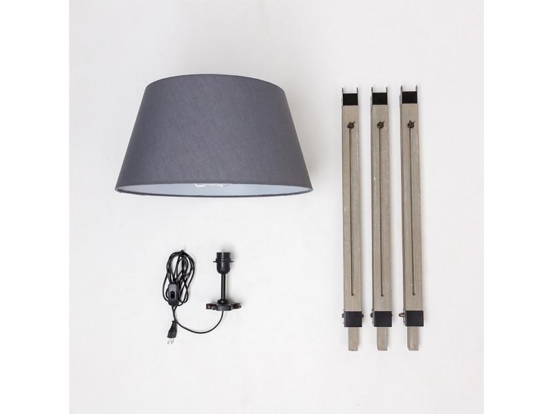 Lampadaire trépied hombuy - bois - gris