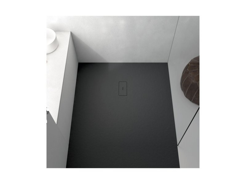 Receveur de douche 80 x 100 cm extra plat fusion en résine surface ardoisée noir 1801_0