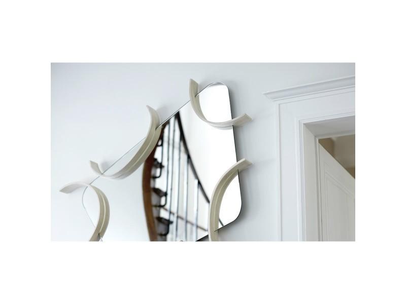 Miroir design en bois vente de limelo conforama for Miroir mural conforama