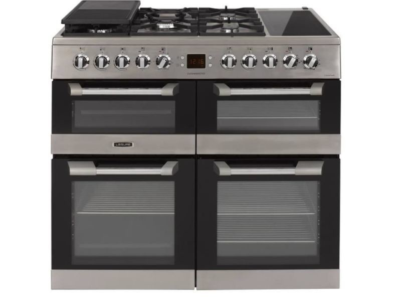 Leisure cs100f520x piano de cuisson table gaz-5 foyers-9,6kwh-fours electrique:4 cavites-catalyse-63-65-33l-a-inox LEICS100F520X