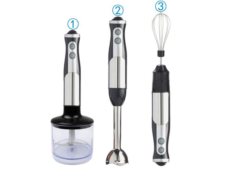 Blender à main, mixeur plongeant, noir, avec hacheur