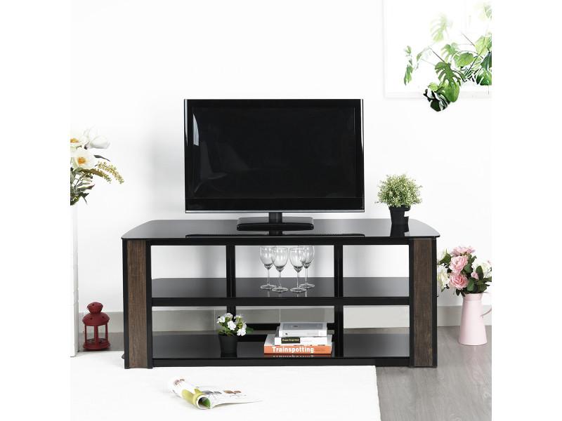 Meuble tv verre et métal noir