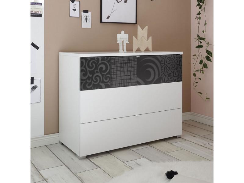 Commode 3 tiroirs blanc/gris laqué - fiori - l 104 x l 45 x h 80 cm