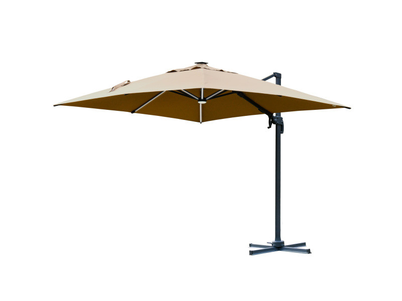 Parasol déporté carré parasol led inclinable pivotant 360° manivelle piètement acier dim. 3l x 3l x 2,66h m beige