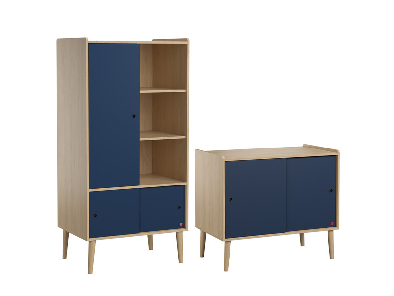 Commode 2 portes coulissantes et armoire 1 porte retro - bois bleu