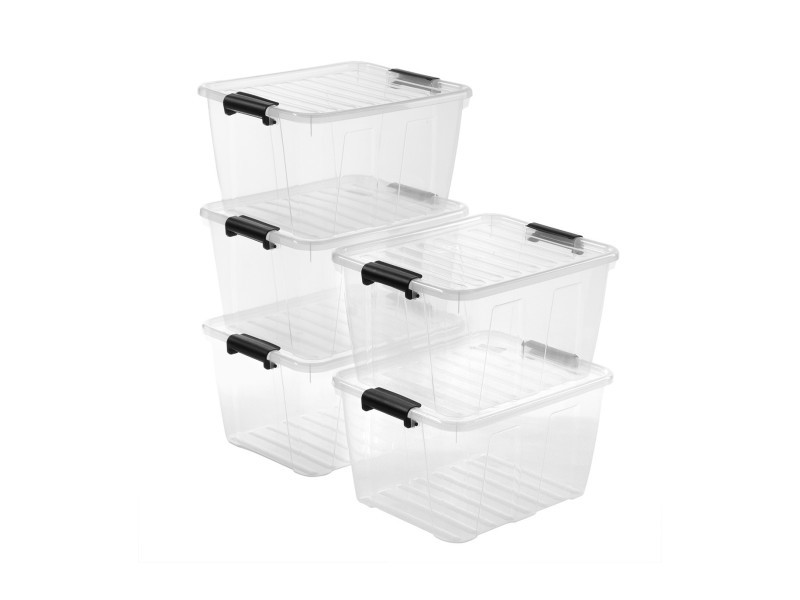 Lot de 5 boîtes de rangement 30l - plastique transparent