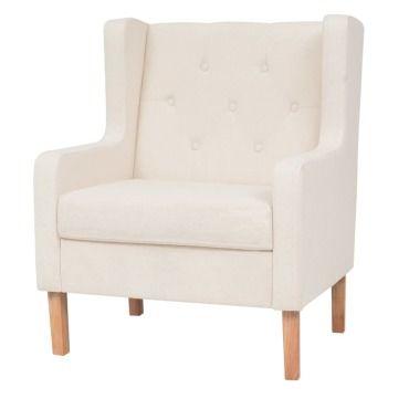 Vidaxl fauteuil tissu blanc crème 245449 Vente de VIDAXL