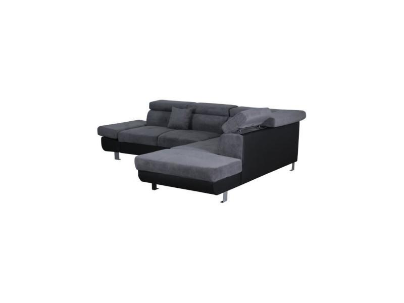 Fink canapé d'angle droit 5 places - tissu gris anthracite et simili noir - contemporain - l 270 x p 224 cm