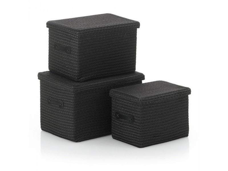 Kela set de 3 corbeilles rimossa noir 32124