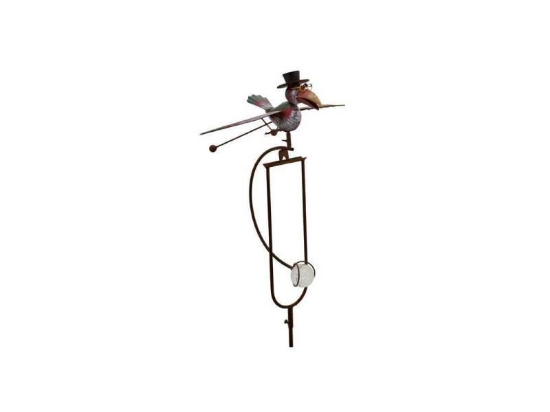 Mobile de jardin à balancier à planter ou tuteur pour plantes motifs corbeau en fer et verre patiné coloré 33x48x144cm