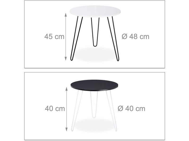 Lot de 2 tables basses d'appoint rondes fer et mdf blanc et noir helloshop26 13_0001321