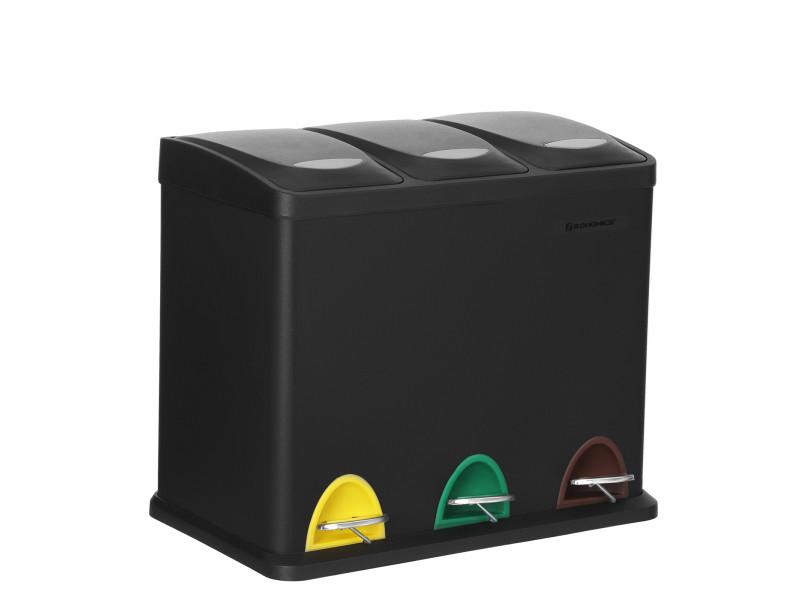 Songmics poubelle de recyclage, poubelle à pédales 3-en-1, poubelle 24 litres en métal, pour cuisine, durable, facile à nettoyer, noir ltb24bk Poubelle à pédales 3-en-1 , 46,5 x 29,5 x (40,5-65) cm (L x l x H)