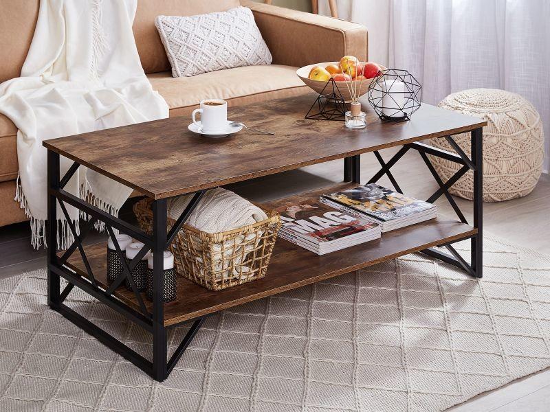 Table basse imitation bois foncé bolton 179753