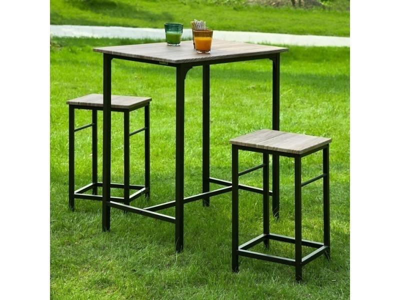 Set de 1 table 2 tabourets avec repose pieds table mange - Table de cuisine haute avec tabouret ...