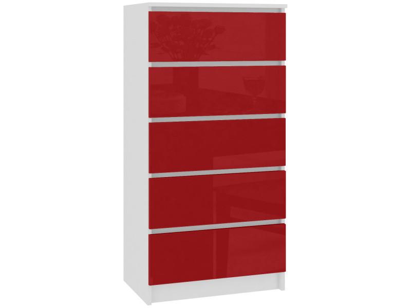 Skandi - commode contemporaine chambre + salon + bureau 121x60x40 cm - 5 tiroirs - design moderne - chiffonier semainier - blanc/rouge laqué