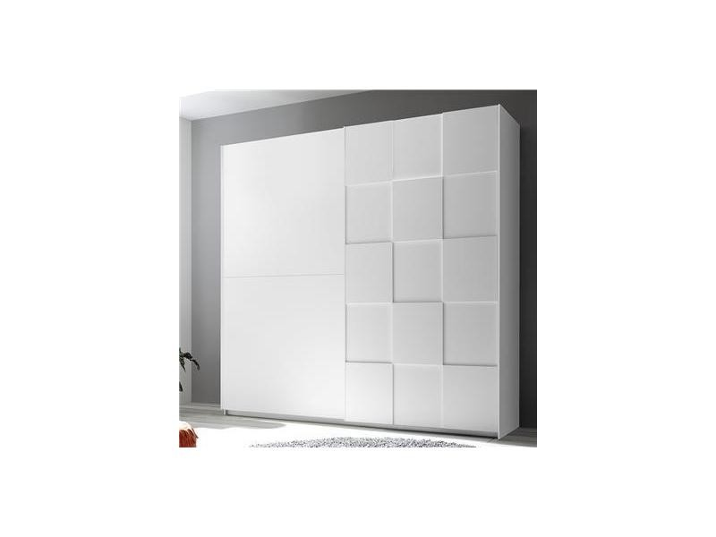 Armoire 220 cm design blanc laqué tiavano