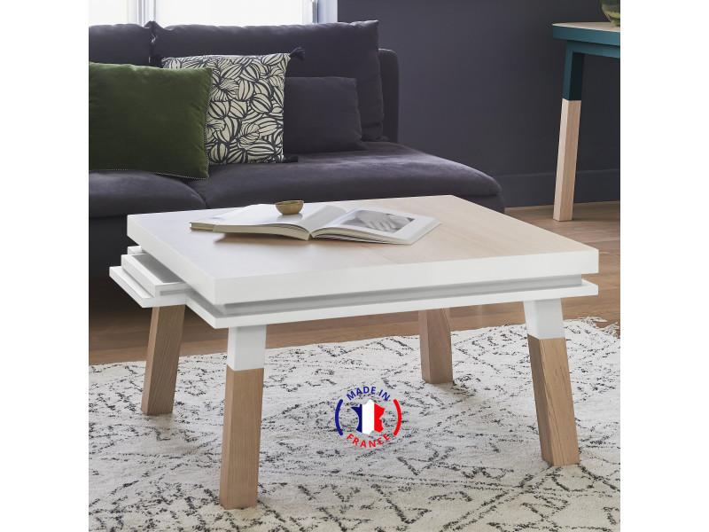 Table basse carrée 100% frêne massif 70x70 cm blanc balisson - 100% fabrication française