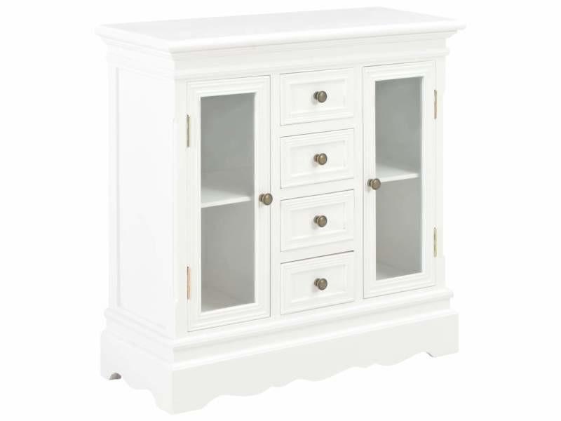 Buffet bahut armoire console meuble de rangement blanc 70 cm bois de pin massif helloshop26 4402057