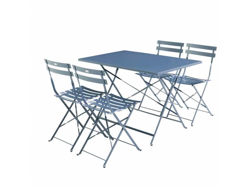 Salon de jardin bistrot pliable emilia rectangulaire bleu grisé avec ...