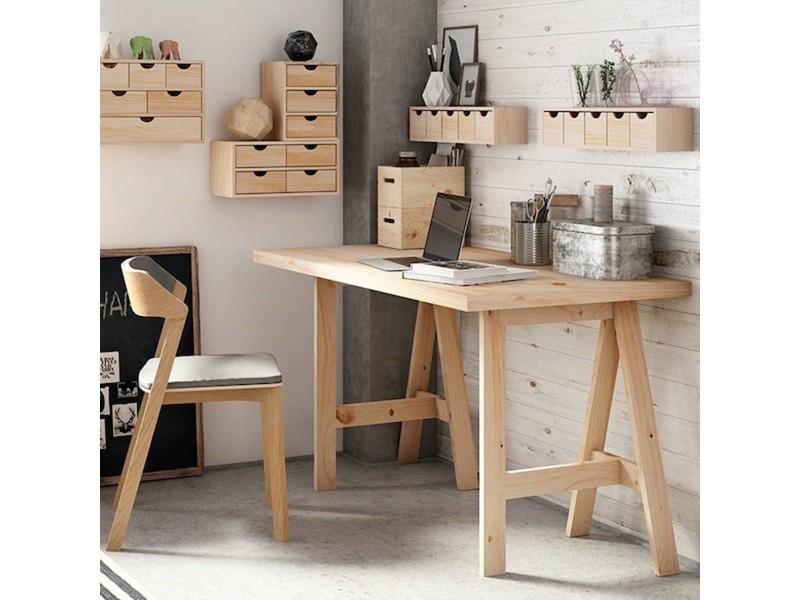 Bureau moderne moka façon tréteau tiroirs en ch taignier