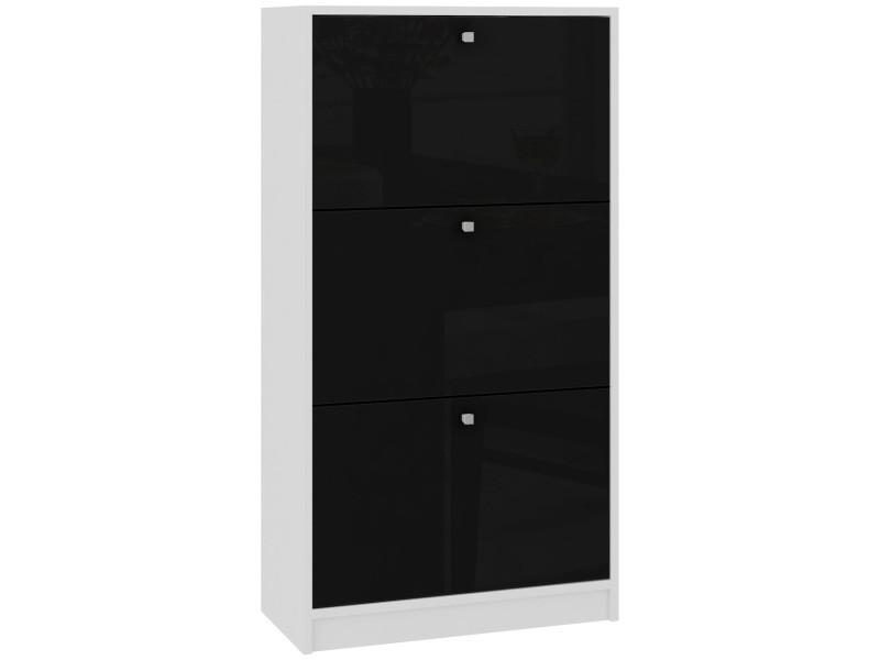 Noki | meuble d'entrée rangement chaussures 112.5x60x28.5cm | 3 portes à rabat | armoire range-chaussures contemporain - blanc/noir laqué