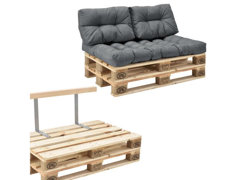 en.casa] canapé de palette euro- 2-siège avec coussins- [gris ...