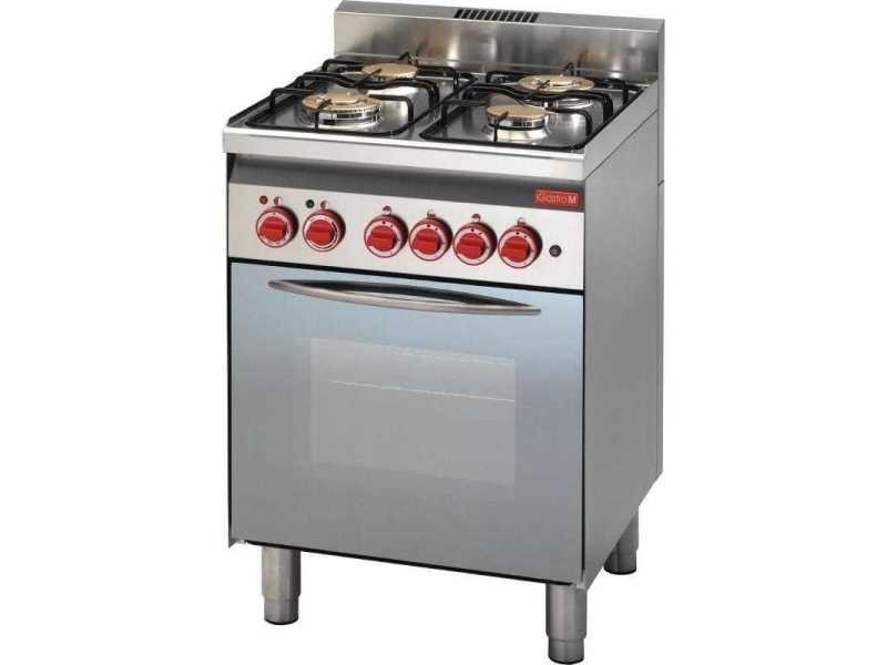 Piano de cuisson à gaz 4 brûleurs - four à gaz gril électrique porte vitrée - gastro m -